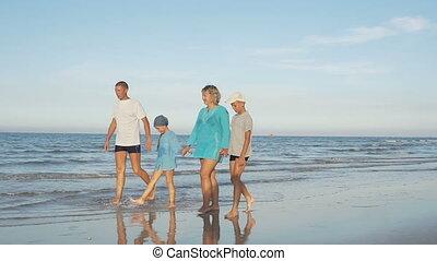 famille, flânerie, jeune, long, plage, heureux