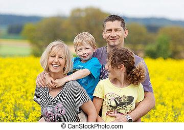 famille, fleur, pré, contre, heureux