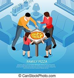famille, fond, isométrique, pizza