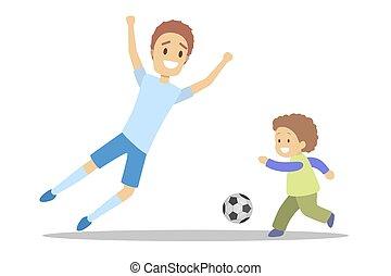 famille, football, père, fils, ensemble., jouer