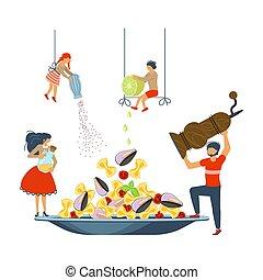 famille, fruits mer, cuisine, ensemble, pâtes, heureux