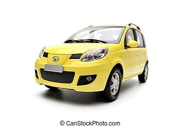 famille, générique, voiture, moderne, isolé, fond jaune, modèle, blanc