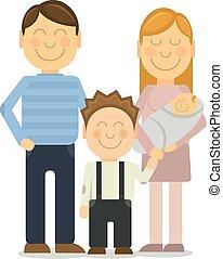 famille, gai, vecteur, portrait, sourire, faire gestes, heureux