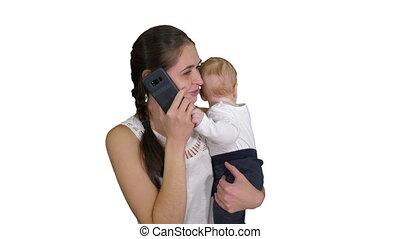 famille, gens, heureux, smartphone, bébé, -, appeler, blanc...