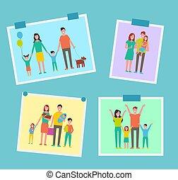 famille, gens, images, illustration, vecteur, heureux