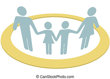 famille, gens, intérieur, sûr, sécurité, cercle, anneau