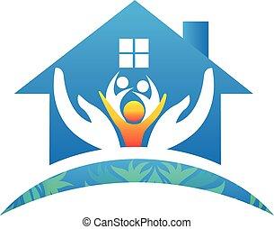 famille, gens, maison, vecteur, mains, logo, soin, icône