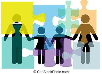 famille, gens, santé, services, problème, solution, puzzle