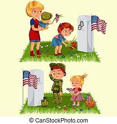 famille, girl, enfants, commémoratif, honorer, jour, mémoire, héros, cimetière, peu, illustration, tokens, drapeau, enfant, fleurs, épouse, nous, vecteur, s'étend, mère, militaire, tombe, baissé