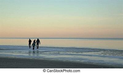 famille, glace, mer, amusement, baltique, avoir