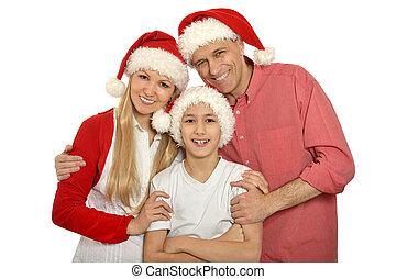 famille, gosse, santa, chapeaux
