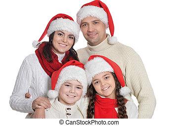 famille, gosses, santa, chapeaux