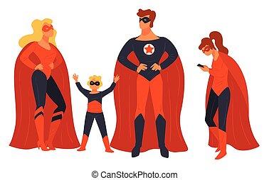 famille, gosses, super, parents, vecteur, héros