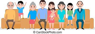 famille, grand, illustration, vecteur, sofa, dessin animé, heureux