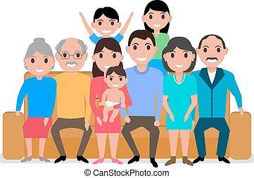 famille, grand, vecteur, sofa, dessin animé, heureux
