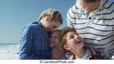famille, gratuite, ensemble, temps, apprécier, plage
