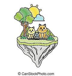 famille, griffonnage, flotteur, chat, animal, île
