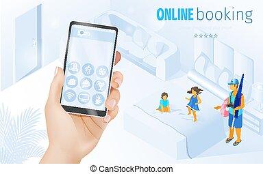 famille, hôtel, illustration, recours, enfant, amical