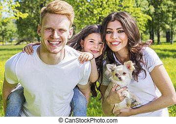 famille heureuse, à, a, chien