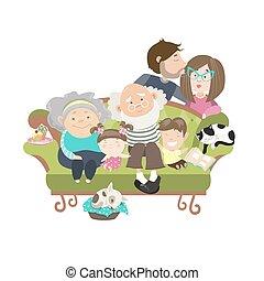 famille heureuse, à, mère, papa, fille fils, grand-père, et, grand-mère