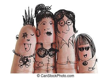 famille heureuse, à, peint, smiley, sur, humain, doigts