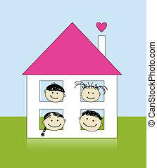 famille heureuse, à, propre, maison, sourire, ensemble, dessin, croquis