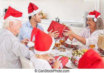 famille heureuse, échanger, noël dons