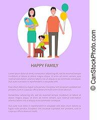 famille heureuse, affiche, vecteur, dessin animé, caractères, texte