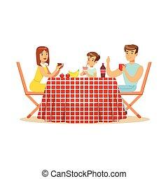 famille heureuse, avoir déjeuner, dehors, mère, père fils, caractères, à, a, pique-nique, vecteur, illustration