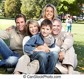 famille heureuse, dans, les, park.