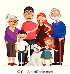 famille heureuse, debout, ensemble, étreindre, sourire., mère, père, fille fils, et, grand-maman, et, grandfather., famille, à, les, chien, vecteur, plat, illustration, isolé, blanc, fond