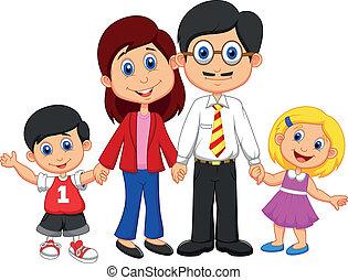 famille heureuse, dessin animé