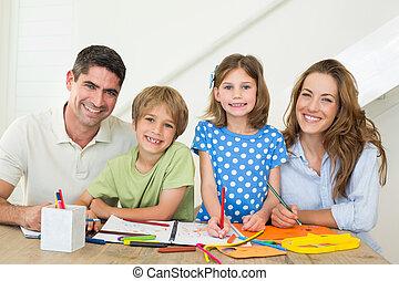 famille heureuse, dessin, ensemble