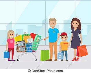 famille heureuse, deux, vecteur, enfants, achats