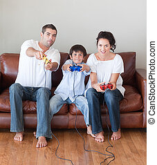 famille heureuse, jouer, videogames