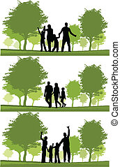 famille heureuse, marche