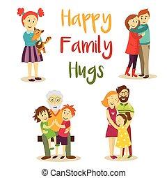 famille heureuse, membres, étreindre, dessin animé, vecteur, ensemble