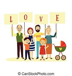 famille heureuse, membres, tenue, lettres, de, mot, amour