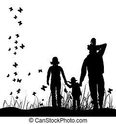 famille heureuse, promenades, sur, nature