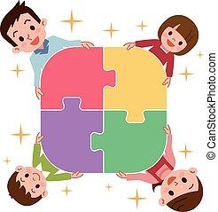 famille heureuse, puzzles