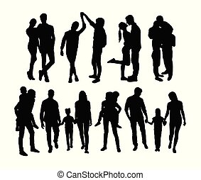 famille heureuse, silhouettes