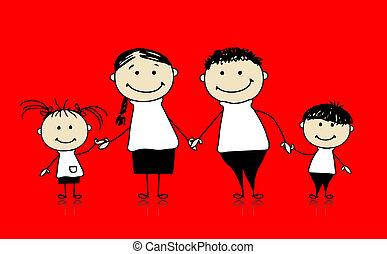 famille heureuse, sourire, ensemble, dessin, croquis