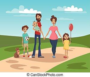 famille heureuse, sur, a, fond, de, nature, paysage, vecteur, illustration