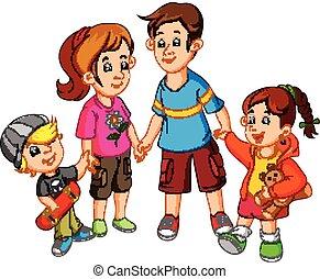 famille heureuse, tenant mains