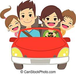 famille heureuse, voiture