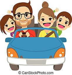 famille heureuse, voyager, voiture