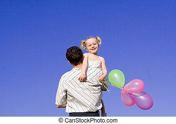 famille, heureux, père enfant