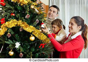 famille, heureux, trois