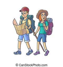 famille, hiking., jeune couple, dans, les, campagne