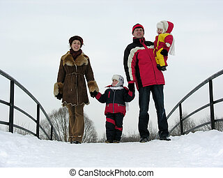 famille, hiver, quatre